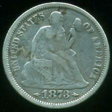 USA UNITED STATES SILVER COIN SEATED LIBERTY DIME 1873 ARROWS 10 CENTS VF-