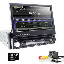 "7""Single DIN In Dash GPS Navigation NAV HD Car DVD Stereo Player Bluetooth Touch"