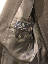 $995 Polo Ralph Lauren Blue Label Charcoal Windowpane Suit 40 42 L Barney's NY