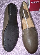 Avenue--Flat Slip On Fabric Shoes--Size 12W--Brown--Two Stretch Gores