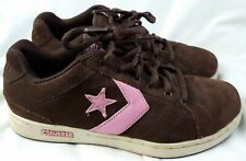Converse All Star Brown Pink Leather Suede Vtg Skater Shoes Sneakers Women's 8.5