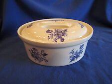 Vtg Apilco White/Blue Flower Porcelain Oval Covered Baking Casserole Dish France