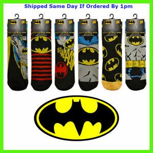 6 Pairs Mens Official DC BATMAN Socks Novelty Cartoon Comic Tv Theme Adults 6-11