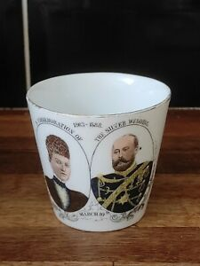 Rare hand painted china cup King Edward & Queen Alexandra 1888 Silver Wedding