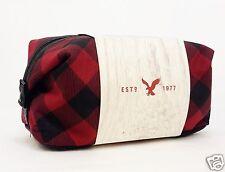 1 American Eagle Plaid Red Black Bag Case Pouch Men Women Makeup Shave Travel