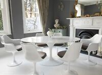 170cm x 110cm White Carrara Marble Oval Tulip Table & 4 + 2 Tulip Dining Chairs