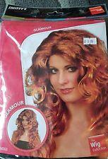 Smiffys glamour orange ginger auburn curly long hair wig 80s fancy dress