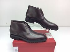 Salvatore Ferragamo Gustavo Hickory Brown Calf Leather Chukka Boots Men's 11 D