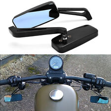 BLACK RECTANGLE MOTORCYCLE CRUISER BOBBER CHOPPER REARVIEW SIDE MIRRORS 8MM-10MM