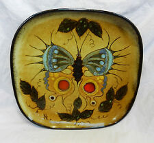 Antique Footed Enamelled Copper Dish -  Butterfly - Unique Item - ER / BR Mark