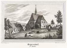 BEIERSDORF (EBERSBACH) - DORFKIRCHE & KIRCHHOF - Lithografie 1841