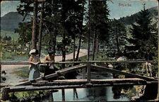 Schierke Wernigerode Frauchen auf Bach Brücke AK 1919 gelaufen nach Winterhude