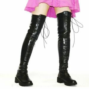 Over the Knee Boots Women Winter Lace Up Thigh High Boots Flats Oxfords Casual