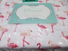 Whimsical Hotel Collection 4pc White Pink Flamingo Sheet Set - King