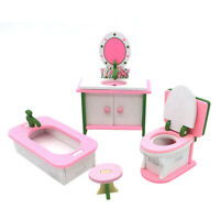 1 set Baby Wooden Dollhouse Furniture Dolls House Miniature Child Play Toys Gift