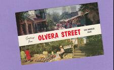 Greetings from Olvera Street Market Vendor Stalls Los Angeles Vintage Postcard