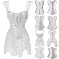 Women Sexy Corset Bustier White Wedding Dress Waist Cincher Overbust Top Dresses