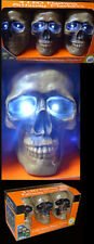 3 SKULL LED FLASHING PATHWAY MARKERS SOUND ACTIVATED-HALLOWEEN STROBE LIGHTS NEW