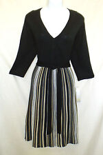 New Liv XL Stretch Acrylic Knit Dress V-neck A-line Striped Skirt 17011601s