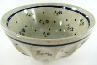 BOLESLAWIEC Pottery Small Bowl Hand Made in Poland Ribbed Hand Painted Signed