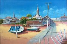 Original Oil Painting M. Feinerman Coastal Boats Beach Great Lakes Wisconsin ?