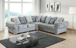 New Verona Sofa Grey  Fabric 3+2 Seater or Corner Sofa 5 Seater