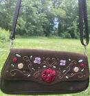 BRIGHTON ornate leather flap Purse WALLET Organizer petite small shoulder bag
