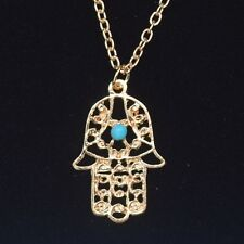 Small Gold Hamsa Necklace  ~ Charm Pendant on Gold Chain