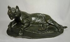 Antique French Bronze Sculpture Reclining Lion Listed Artist L. Bureau 1866-1906