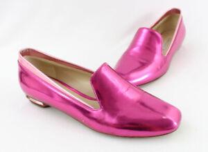 Nicholas Kirkwood Women's Hot Pink Metallic Square Toe Loafer Flat Shoe 38 8