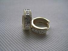 Oro Pendientes Huggie Talla Diamante 9 Quilates amarillo y blanco