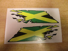 """Jamaican Flag """"ripped"""" style stickers - 300mm decals x2 LARGE"""