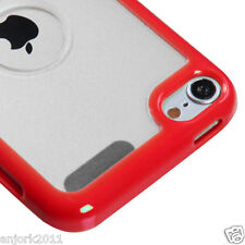 Apple iPod Touch 5 Hybrid Case Gummy Cover Accessory Red Clear