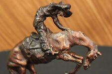 100% Bronze Statue Figure Remington Bronze cowboy w/Horse Sculpture Rattlesnake
