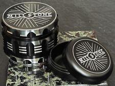 Millstone Tobacco Herb Grinder & Smell Proof Storage Jar 2.5 inch 4-Piece Black