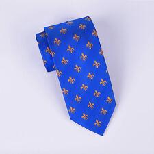 """Orange Fleur-De-Lis Blue 3"""" Inch Tie 7.5 CM Woven Necktie Stylish Floral Design"""