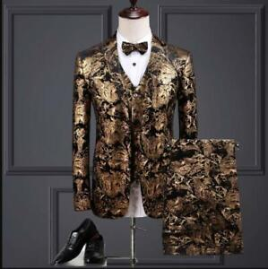 Mens 3Pcs Top Dress Long Sleeved Printing Floral Business Wedding Suits Stage
