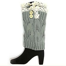 Gray and Cream Leg Warmer 9""