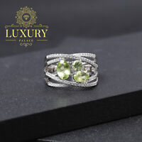 Natural Peridot Stones Solid 925 Sterling Silver Handmade Criss Cross Ring