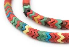 Red Medley Snake Beads 9mm Nigeria African Mixed Glass Large Hole 28 Inch Strand