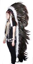 Indianer Federhaube XXL MEGA Kopfschmuck SCHWARZ ca. 150 cm. Fasching Warbonnet