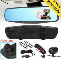 Dual Lens Cam Vehicle Front Rear Car DVR Video Recorder Dash Cam HD 1080P EM
