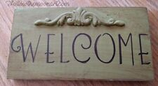 Primitive Scroll Country Welcome Wood hand Painted  Sign