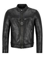 Men's Leather Jacket Black 100% Lambskin Casual Wear Classic Biker Style  3815
