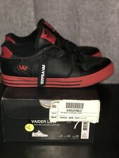 Supra Vaider Low Mens Size 7 Black And Red Action Leather