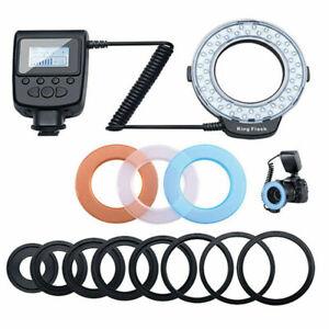 Ring Flash Light 48 LED Speedlight Macro 3000~15000K For Nikon Canon Olympus