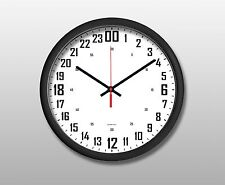 """Oversize 24 Hours Wall Clock 15"""" Round Black, White Face"""