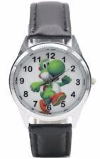 Nintendo Super Mario Bros YOSHI Figure Black Genuine Leather Band Wrist Watch