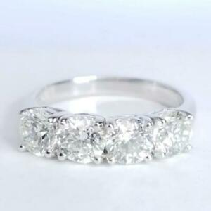 2.64Ct White Round Diamond Pave Set Engagement Ring Solid 925 Sterling Silver
