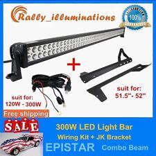 "300W 52"" LED Light Bar+ Mounting Bracket For Jeep JK Wrangler+Wiring Kit Offroad"